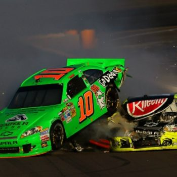 Paul Menard Wrecks Danica Patrick (NASCAR Cup Series)