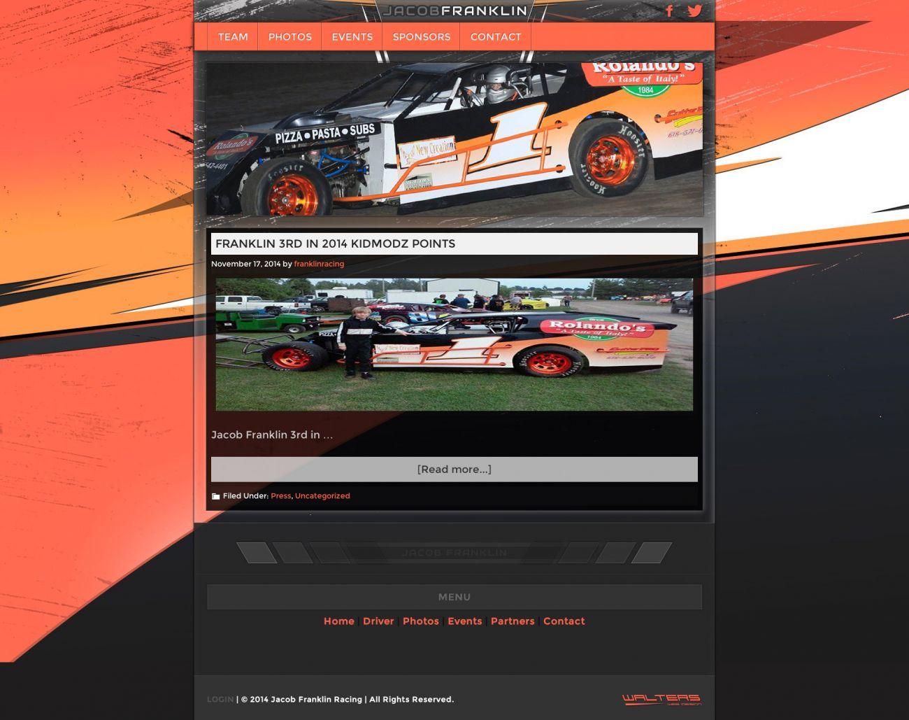 Jacob Franklin UMP KidModz Racing Series Driver Website Links - Walters Web Design