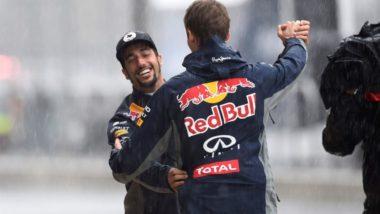 Daniel Ricciardo and Daniil Kvyat Rain Dancing USGP - COTA Rain Delay