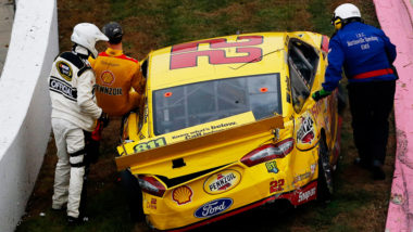 Matt Kenseth vs Joey Logano Wreck At Martinsville Speedway NASCAR race